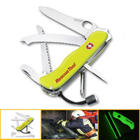 Wholesale Hot mm Multifunctional Fluorescence Rescue Tools Outdoors Camping Survival Switzerland Saber Folding Army Knife