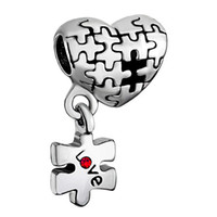 Wholesale 5mm New arrival Silver Plated beads Puzzle Heart Love Red Dangle European Beads Charms Bracelets