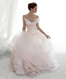 Wholesale Le Spose di Gio Wedding Dress A Line V Neck Tulle Flowers Ruffle Floor Length Bridal Dresses Z1684