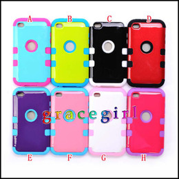Wholesale 3 in Hybrid Hard Bling plastic PC gel silicone soft case For apple ipod touch itouch th Ballistic Heavy Duty skin Round hole