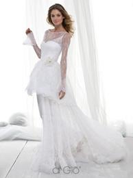 Wholesale Le Spose di Gio Wedding Dress A Line Transparent Top Long Sleeves Tulle Flowers Appliques Floor Length Bridal Dresses Z1685