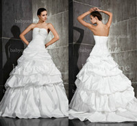 Wholesale 2014 Sexy Sweetheart Sleeveless Bridal Gowns Crystals Pleats Tiered Lace Up Back Taffeta Spring Garden A Line Wedding Dresses BO