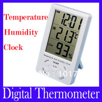 Wholesale Digital LCD large screen electronic hygrometer with clock household thermometer TA308