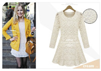 Wholesale 2013 whoslesale new fashion dress long sleeve casual round neck dress S XL slim waist lace A lap OL working dress