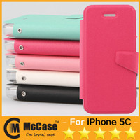 Wholesale IPHONE C Fresh Style Litchi Pattern Kickstand PU Leather TPU Flip Cover Case With Card Slots For Apple iPhone C Stand Function
