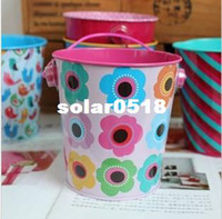 Wholesale Picture of flower Tin Wedding favor boxes Party candy boxes Tin pail favors bucket gift packaging