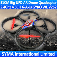 Wholesale WL V262 CM Big Large Ghz CH Axis GYRO Quadcopter Quadricopter With Camera Intruder UFO VS Parrot AR Drone RC Helicopter Drone