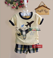 Summer airplane t shirts - Bran New Summer Children s Outfits Cool Boy Cartoon White Short Sleeve T shirt Coffee Shorts Piece Suits airplane kids suit