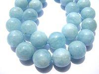 beryl gemstones - Genuine Aquamarine Beryl gemstone high quality Round Ball Blue jewelry beads mm full strand