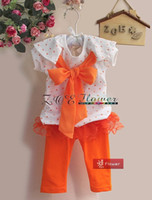 Summer aw suit - Bran New Children s Outfits AW Girl Clothes Girl Bowknot Dot Short Sleeve T shirt Leggings Piece Suits Fashion Suits Pink Orange