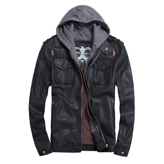 Men Jacket Leather Hoodie Online | Hoodie Leather Jacket For Men ...