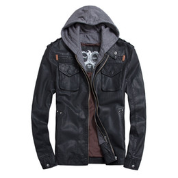 Wholesale THOOO Brand Mens PU Leather Jackets Hoodie Jacket For Mens Good Quality Faux Leather Business Outwwaer Free Shipment