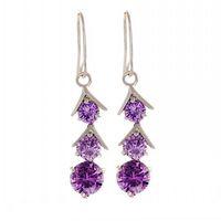 Celtic amethyst jewelery - Women Jewelery Lady s K Gold Plated Three stone Round Purple Amehyst Earrings Drop Dangle