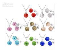 Wholesale set mm blue Ball Bead necklace amp earrings Shambala set