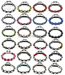 Wholesale Disco Crystal balls braid shamballa bracelet mm Clay crystal beads wrap charm bracelets