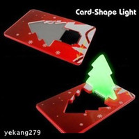 Wholesale 20PCS Card Christmas Tree Put in wallet LED Night Light Children Luminous Toys Friends Christmas Gifts Ornament Adornment