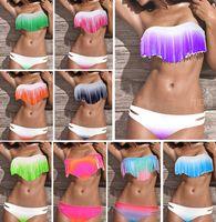 Wholesale Sexy Purple Bikinis - 2016 NWT Summer Sexy Women Bikini Boho Padded Swimwear Colorful Fringe Tassels Real Class Swimsuit 10 Colors S M L #P039