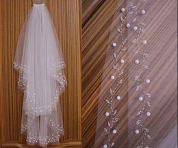 Wholesale 2 layer fingertip bridal veil white or ivory diamond bead wedding veils combs