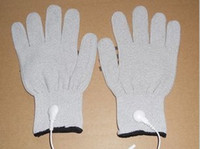 Wholesale Conductive Gloves for Use with EMS massage Tens Machine Electrode Pain Treatment with cable PAIRS Silver Thread