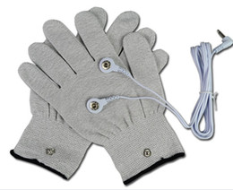 Wholesale Silver Conductive Gloves for Use with acupuncture EMS Tens Machine electronic stimulators massage electrode goloves with cable pairs