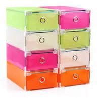 Wholesale 5 Colored Transparent Plastic Shoebox Thick Metal Edging Shoe Box Drawer Shoe Storage Box Plastic Storage Box Debris Box