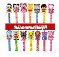 Wholesale 2015 hot Fashion Large scale cm medium cartoon balloon stick blow stick ballonsrefueling inflatable rods animal head