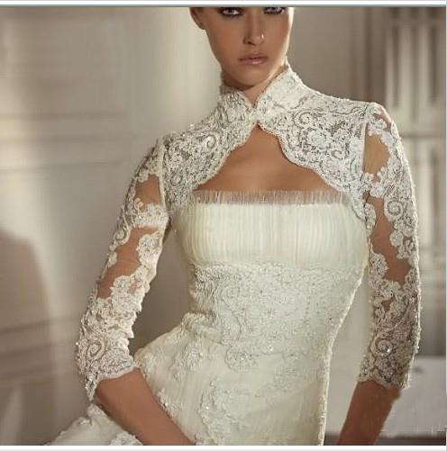 2017 ivory white lace wedding bridal dress bolero shrug for Wedding dress long sleeve lace jacket