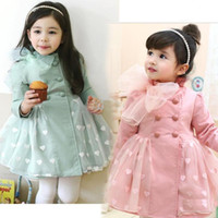 Wholesale New Spring autumn Children s clothing baby Girls long sleeve Outerwear Coats Bow gauze Trench kids heart jackets coats