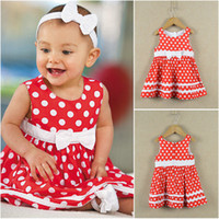 Wholesale 30 off JACADI dress baby girl sleeveless dot bow dress red dress kids dresses girls summer dresses boutique holiday dress