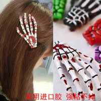 Wholesale 50pcs size cm skull claw hairpin skeleton hand hair clips Lolita Rockabilly Goth clip mixed colors