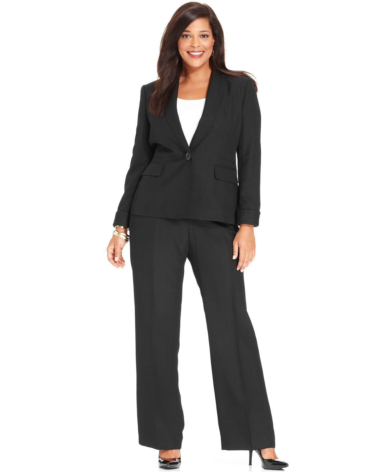 Plus Size Suit Shawl Collar Jacket & Trousers Custom Made Women ...
