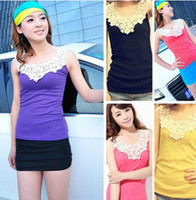 Wholesale Popular Women Lace Flower Crochet Ribbed Tank Top Sleeveless T shirt Vest