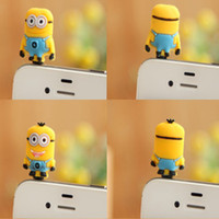 Wholesale 3D Eyes Despicable Me Anti Dust Earphone Jack Dustproof Plug Stopper Milk Dad capsules with retail package mm plug CN
