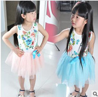 Wholesale In the summer of with CFLR ribbon flowers rose BaoTong skirt pink red and blue sleeveless child floral dress