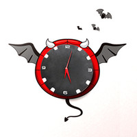 Digital   DIY 3D Paper Wall Clock Night Bat Atmosphere Mute Movement Novelty Clock +free shipping
