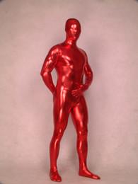 new,red metallic Lycra Zentai spandex Unisex catsuit S-XXL Wholesale