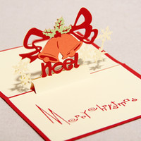 Wholesale 3D Colorful Bell Design Handmade Kirigami amp Origami Pop up Cards For Christmas Gift set of