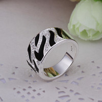 Wholesale of Diamond sterling silver Black Rings r271 Gift Box bag new Male Female