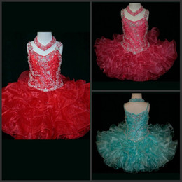 Sparking Ball Gown Spaghetti Straps Mini Short Organza Beads Sequins Lovely Pageant Dresses For Kids Sweety Flower Girl Dresses Ruffles