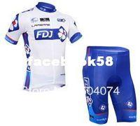 Wholesale 2013 NEW FDJ short sleeve cycling jerseys wear clothes bicycle bike riding jerseys pants shorts