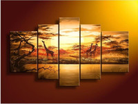 Wholesale hand painted wall art African forest giraffes Home Decoration Modern Landscape Oil Painting on canvas