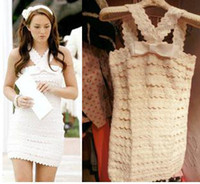 Wholesale Sweet Style Gossip Girl QueenB White Bowknot Lace Skirt One Piece Dress