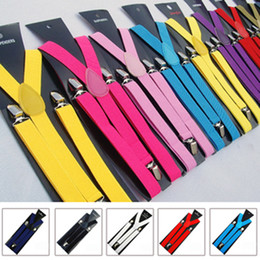 Wholesale 10 Elastic Clip on Candy color Braces Suspenders Adjustable Unisex Neon UV Plain Mens Ladies Fancy Dress Y back Suspenders