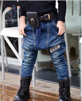 Wholesale 2013 Kid Boy Girl Unisex Embroidered Baggy Loose Fit Sagging Hip Hop Rap Streetwear Uban Patch Flare Cargo Jeans Children Clothing C0034