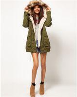 army jacke - Mode Army Damen Mantel Jacke Kapuze Fleecejacke BLOGGER Parka Hipster