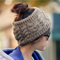beret headband - 2013 South Korean fashion street men women autumn winter twist headband knitting hat empty hat MZ53