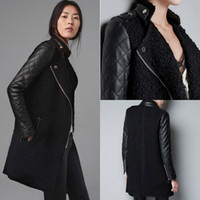 Wholesale Ladies Fashion Trench Coat Women Faux Leather Sleeves Stand Up Collar Zip Jacket