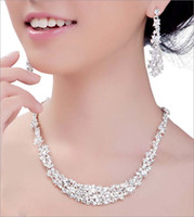 Wholesale Hotsale Shamballa jewelry sets Alloy wedding Bridal crystal rhionstone Plated necklace earrings NE037 in