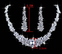 Wholesale Hotsale Shamballa Alloy jewelry sets Bridal Silver rhionstone Plated necklace earrings NE037 Sample