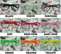 Wholesale 200pairs Rockabilly Punk Geek Retro Clear Lens Glasses Color Sunglasses